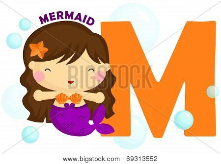 the letter m for the word mermaid poster