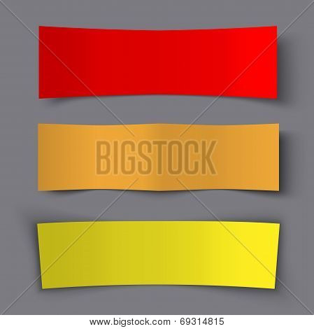 Set of Bended Paper Colorful Banners with shadows, vector illustration poster