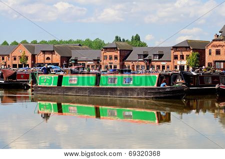 Narrowboats in Barton Marina.