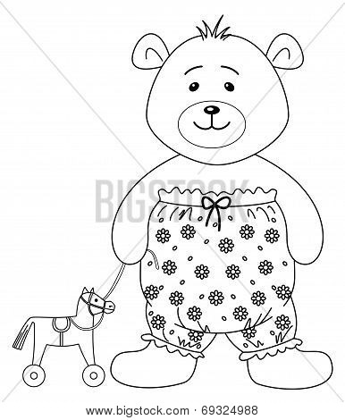 Teddy-bear in the clothes decorated with flowers and toy horsy, contours poster