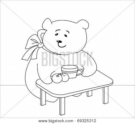 Teddy bear girl sits at a table, eats peaches and drinks juice, contours poster