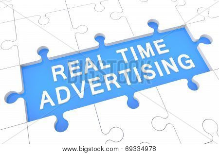 Real Time Advertising - puzzle 3d render illustration with word on blue background poster