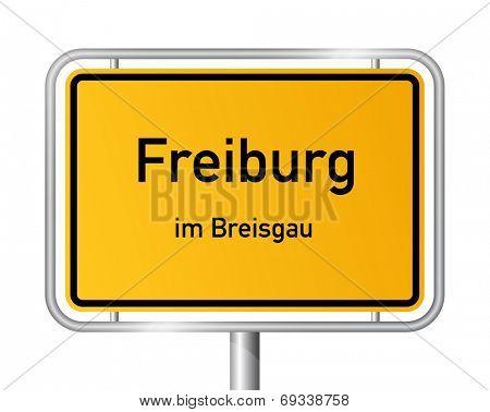 City limit sign Freiburg im Breisgau - signage - Germany