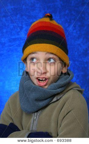 Boy Having Fun In Winter
