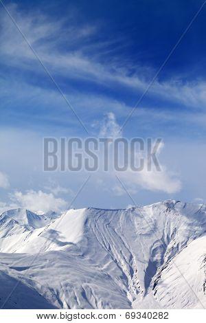 View on off-piste snowy slope. Caucasus Mountains Georgia ski resort Gudauri. poster