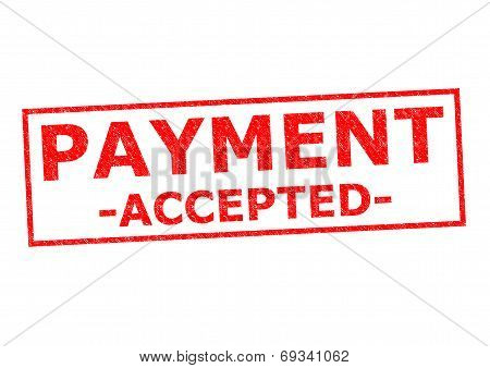 PAYMENT ACCEPTED red rubber stamp over a white background. poster