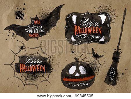 Halloween set, drawn halloween symbols pumpkin, broom, bat, spider webs, lettering and stylized drawing in kraft paper poster