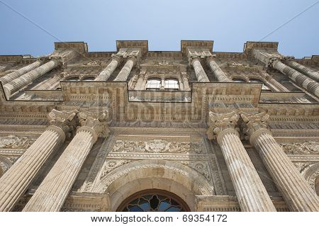 Detail of ottoman architecture at main building in Dolmabahce Palace tourist attraction Istanbul Turkey poster