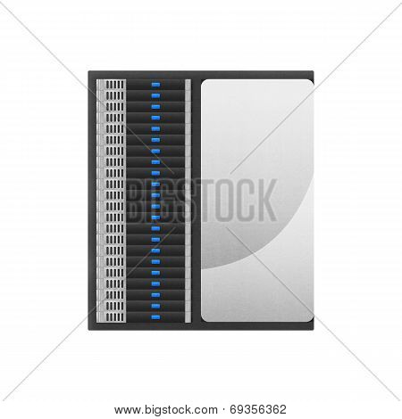 Super Computer Is Network Server For Storage Data And Fast Processing With High Technology Of Paper