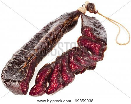 Turkic  solid sausages sudzhuk isolated on white background
