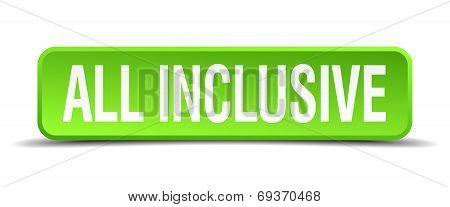 All Inclusive Green 3D Realistic Square Isolated Button