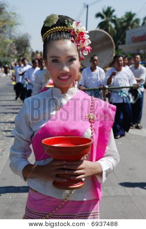 Beautiful thai girl with goblet on 34th Flower Festival