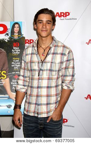 LOS ANGELES - AUG 1:  Brenton Thwaites at the AARP Luncheon IHO Jeff Bridges at the Spago on August 1, 2014 in Beverly Hills, CA