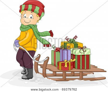 Illustration Featuring a Little Boy Pulling a Sled Full of Christmas Presents