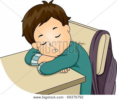 Illustration Featuring a Little Boy Sleeping in Class