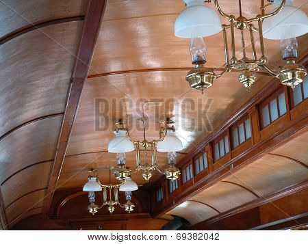 The Ceiling of a Vintage Train Car.
