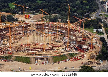 Construction in progress. Polish National Stadium in Warsaw. Date 05.08.2009 . Editorial image.