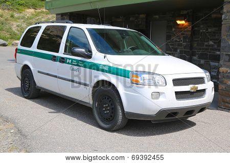 Parks Canada Park Wardens car in Banff National Park in Banff, Alberta, Canada