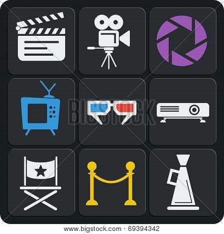Set Of 9 Cinema Web And Mobile Icons. Vector.