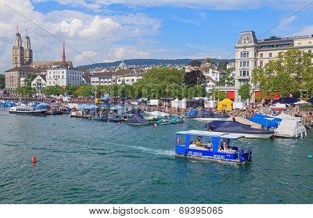 Zurich, Limmatquai Quay During The Street Parade