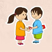 Cute little sister tying rakhi on her brother wrist, naughty brother escaping gift from her on occasion of Hindu community festival Rakha Bandhan celebrations.  poster