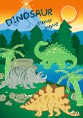 Dinosaurs stomp stomp next to a volcano . poster