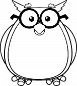 Black And White Wise Owl Teacher Cartoon Character With Glasses  Illustration Isolated on white poster