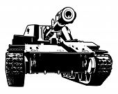 Vector black and white illustration of heavy tank. poster