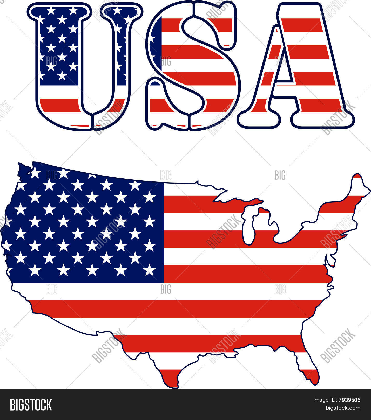 USA Map Text Flag Vector & Photo (Free Trial) | Bigstock