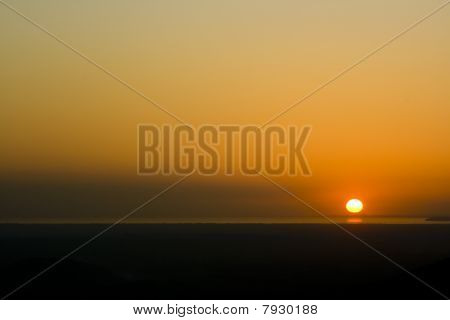 The Sun Setting Over Bristol Channel England