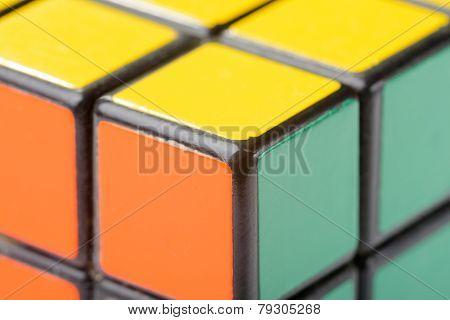 Closeup Of Rubik's Cube