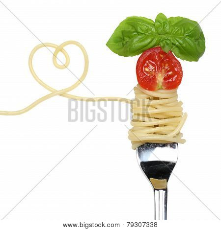 Spaghetti Pasta Meal With Heart On A Fork Love Topic