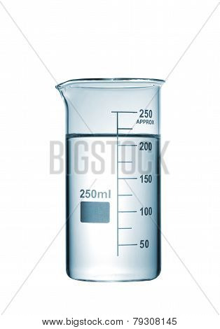 Chemical Beaker With A Solution Isolated On White Background