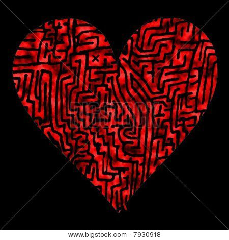 A labyrinth Heart with start and finish, Illustration on black background