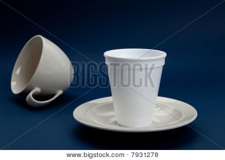 Disposable Cup and Coffee Cup concept of wrong position poster