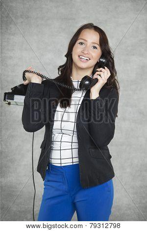Happy Secretary Talking On The Phone