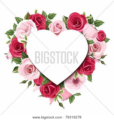 Background with roses and lisianthus flowers. Vector eps-10.