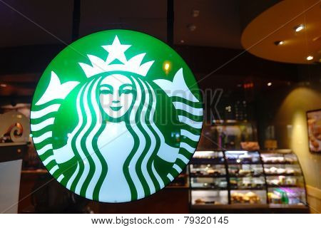 DUBAI - OCT 20: Starbucks logo on October 20, 2014 in Dubai, UAE. Starbucks is the largest coffeehouse company in the world, with more then 23000 stores