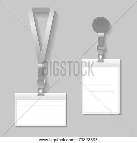 Lanyard, name tag holder end badge templates vector