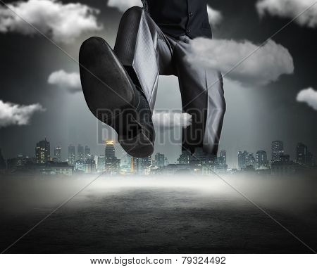 Huge businessman goes across the town poster