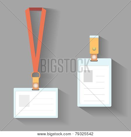 Lanyard badges flat design