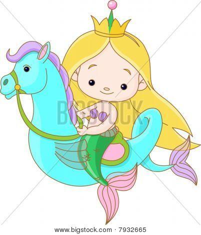 Mermaid riding a Seahorse