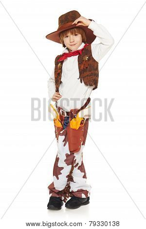 Little boy cowboy welcoming you