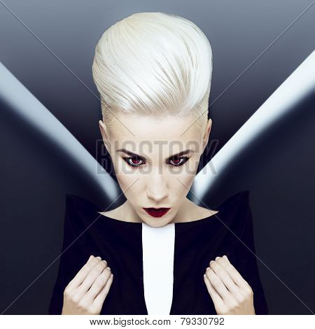 Demonic Blonde Girl. Fashion Hairstyle
