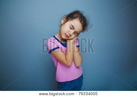lunatic girl on a gray background