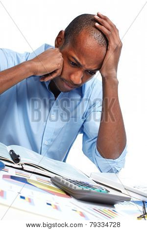 African-American businessman having stress. Debts and problems
