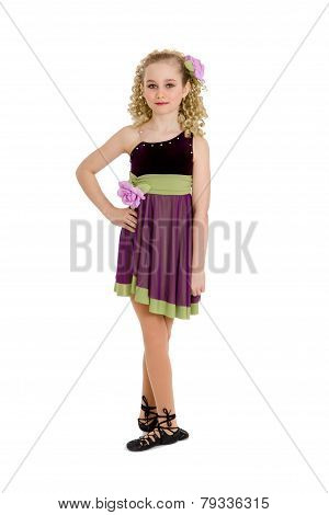 Irish Dancer Girl In Ghillies And Curly Wig