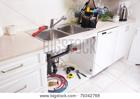 Kitchen Water Tap And Sink.
