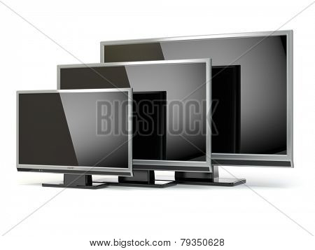 TV flat screen lcd or plasma isolated on white. .Digital broadcasting television. 3d