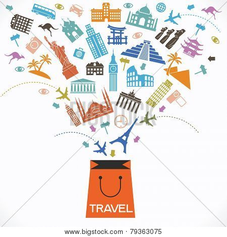 Infographics elements: Travel and Famous Landmarks. Travel concept with stylish colorful icons and guidepost. bag and travel icons.  concept of travel.  Travel shop poster